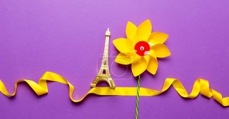 Eiffel tower souvenir and flower