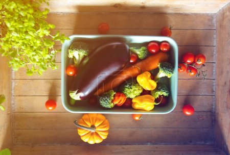 vegetables for a dinner on  table