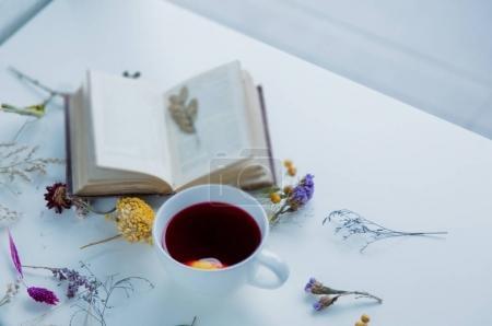 Photo pour Coupe blanche de thé rouge près de la main vintage Bible sur la langue allemande et les herbes avec des fleurs autour sur fond blanc - image libre de droit