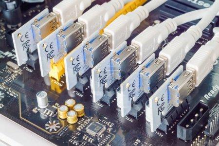 Bangkok, Thailand - August 30, 2017: Close up of PCIE riser card