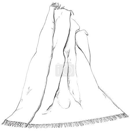 Illustration pour Croquis dessiné main avec une couverture sur fond blanc. - image libre de droit