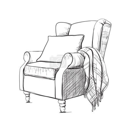 Illustration pour Un fauteuil confortable et une couverture chaude. Atmosphère de détente. - image libre de droit