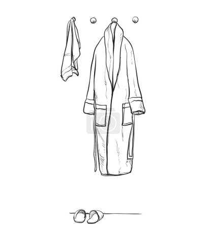 Robe for the shower, bathrobe, doodle style, sketch illustration, hand drawn.