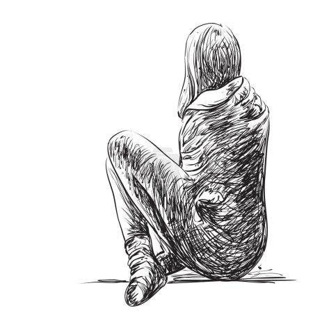 Illustration pour Croquis d'une femme assise isolée. Illustration dessinée main - image libre de droit
