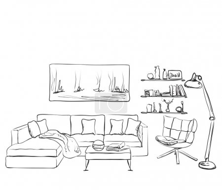 Illustration for Modern interior room sketch. Hand drawn furniture - Royalty Free Image