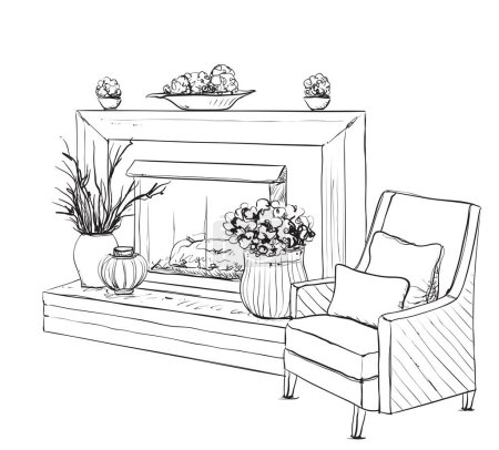 Illustration for Home interior with armchair and fireplace. Relax - Royalty Free Image