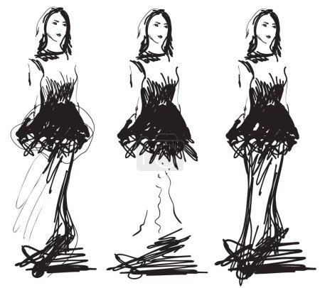 Fashion models silhouettes sketch hand drawn
