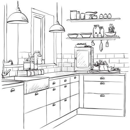 Illustration for Kitchen interior drawing, vector illustration. Furniture sketch - Royalty Free Image