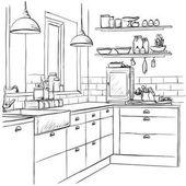 Kitchen interior drawing vector illustration