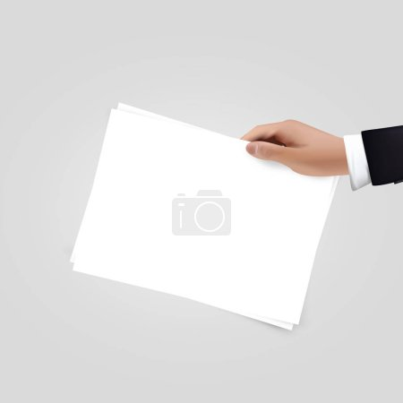 Illustration pour Vecteur réaliste Main tenant des papiers isolés sur blanc. Conception vierge - image libre de droit
