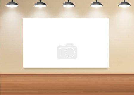 Illustration pour Illustration vectorielle du tableau blanc vierge sur scène pour présentation - image libre de droit