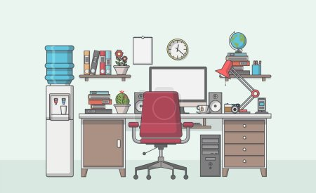 Illustration for Vector Illustration of modern workplace in room. - Royalty Free Image