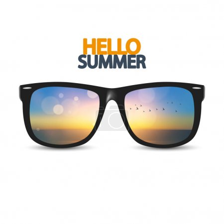 hello summer poster with eyeglasses