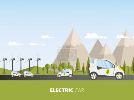 template of website with electrocars vehicles