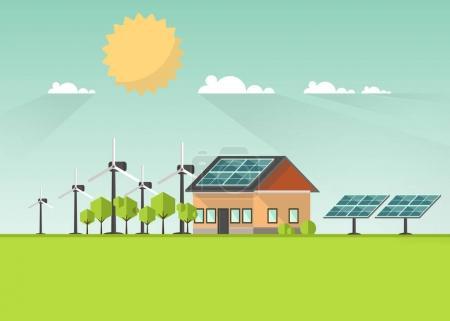 Illustration pour Modèle de brochure promo énergie solaire, maison avec panneaux solaires contre paysage pittoresque à la main, illustration vectorielle - image libre de droit