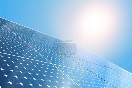 Illustration pour Modèle de brochure promotionnelle sur l'énergie alternative, technologie des panneaux solaires, illustration vectorielle - image libre de droit