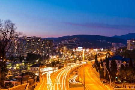 "Aerial view of highway ""Doubler of Kurortnyy Prospekt"", Sochi, R"