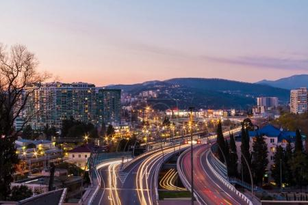Aerial view of highway Doubler of Kurortnyy Prospekt, Sochi, Russia