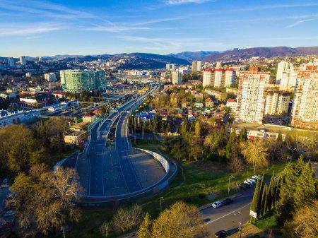 Drone view of Doubler of Kurortny Prospekt highway, Sochi, Russi