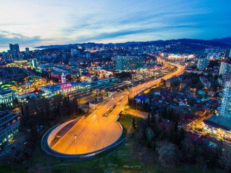 Drone view of Doubler of Kurortnyy Prospekt highway, Sochi, Russ