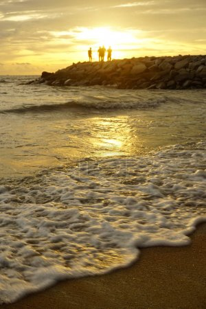 Beautiful sunset sky view at beach.