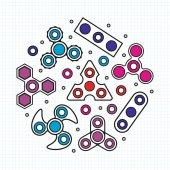 Hand Spinners illustration Vector icons set