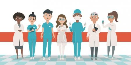 Doctors team vector illustration. Flat cartoon style characters.