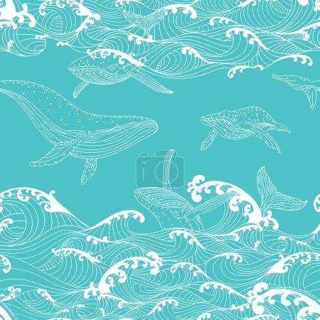 Photo pour Baleine famille nager dans les vagues de l'océan, motif sans couture fond dessiné à la main style asiatique - image libre de droit
