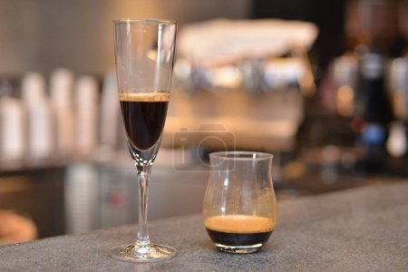 Delicious coffee in glasses