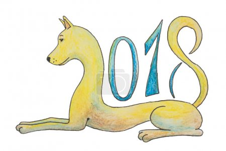 The dog lies and figures 2018 as a symbol for the new year