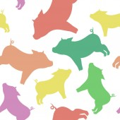 Cool seamless pattern from silhouettes of pigs of different colo