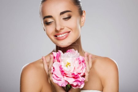 Beauty model with flower
