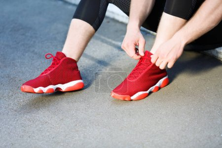 Sport concept of red sneakers