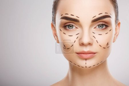 girl  with perforation lines on face