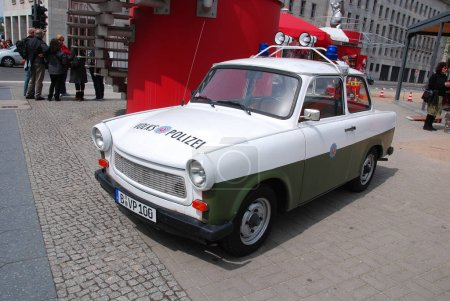 BERLIN, GERMANY - MAY 22: Famous Trabant cars in f...
