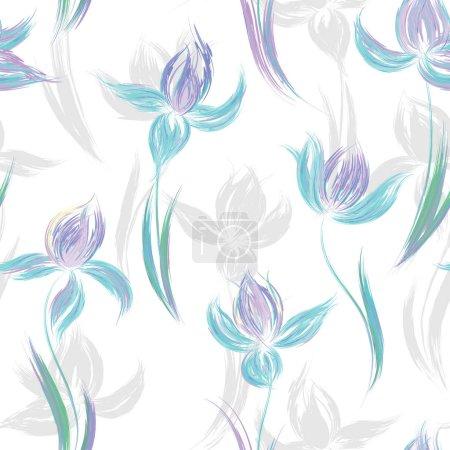 Illustration pour Motif floral sans couture d'iris. Iris imitation peinte de peinture à l'huile. Exécution créative d'ornement floral. Fleurs lilas bleues sur fond blanc . - image libre de droit