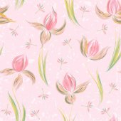 Seamless pattern with floral ornament irises in a grunge style on white background