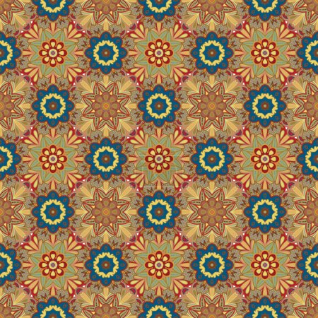 Oriental traditional floral ornament, seamless pattern, tile design, vector illustration