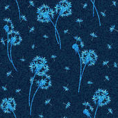 Vector denim floral seamless pattern Faded jeans background with dandelion flowers Blue jeans cloth background