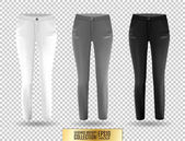 Blank leggings mockup set white gray and black on transparent background Clear leggins template Cloth pants design presentation Sport pantaloons stretch tights model wearing