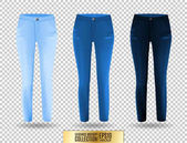 Blank leggings mockup set blue and denim on transparent background Clear leggins template Cloth pants design presentation Sport pantaloons stretch tights model wearing