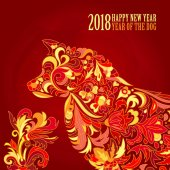 Vector yellow dog for the Chinese New year 2018 Doodle floral pattern