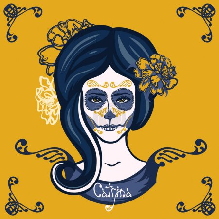 Illustration for Catrina. Girl with marigolds flowers in her hair and make-up to the Mexican holiday Day of the Dead. Dia de Los Muertos card. Invitation poster. Halloween. - Royalty Free Image