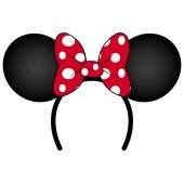 Perfect Mouse Ears with red bow Headband for Birthday Party or Celebration