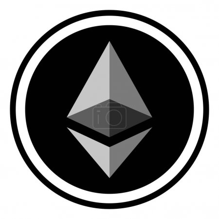 Illustration for Coin crypto currency Ethereum, vector icon digital ether crypto currency Ethereum - Royalty Free Image