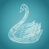 Hand drawn decorated blue swan in boho style Print for decorate t-shirts tunics porcelain cups dishes plate disk print EPS 10