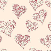 Seamless hand drawn pattern with ornamental hearts for decorate and packing presents of Valentine Day wedding romantic holidays eps 10
