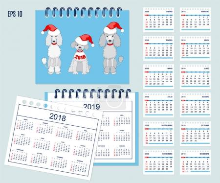 Spanish Kids calendar for wall or desk year 2018,2019