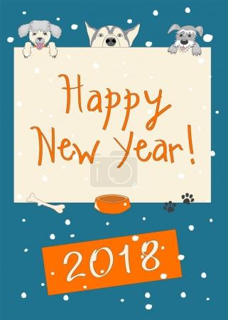 Funny new year dark blue card with three cartoon dogs