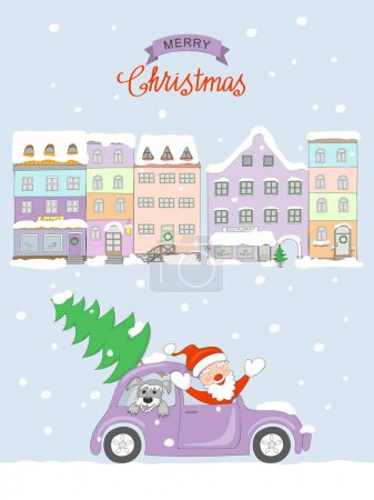 Christmas card with coming santa to old city
